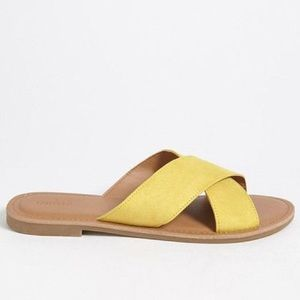 Forever 21 Yellow Suede Criss Cross Sandal Slides